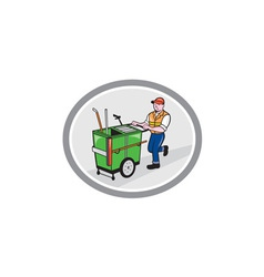 Street Cleaner Pushing Trolley Oval Cartoon vector image vector image