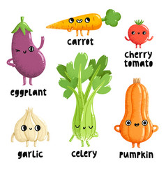 veggie characters set 1 vector image vector image