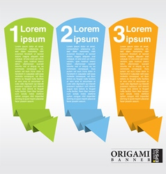 Vertical origami paper banner with numbered EPS10 vector image vector image
