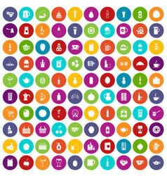 100 beverage icons set color vector