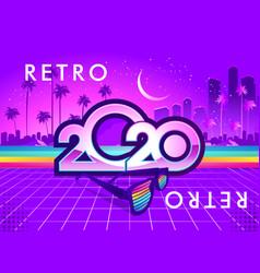 2020 retro wave calendar vector