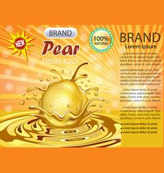 a splash of fruit pear juice vector image