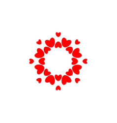 abstract love logo circle hearts frame for vector image