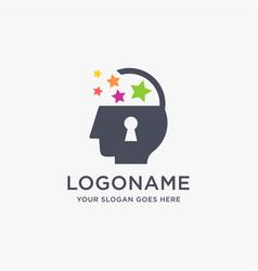 Abstract open padlock human brain logo icon vector