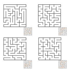 Abstract simple square isolated labyrinth four vector