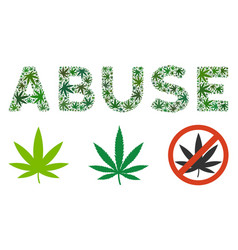 Abuse caption mosaic of cannabis vector