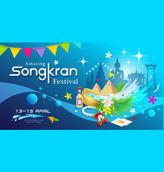 amazing songkran festival thailand water vector image