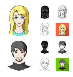 avatar and face cartoonblackflatmonochrome vector image