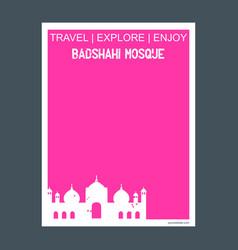 badshahi mosque lahore pakistan monument landmark vector image