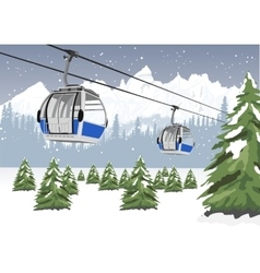 blue cable car lift at ski resort in winter vector image vector image