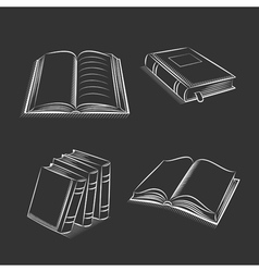 Book and notebook sketch set on black background vector