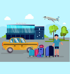 boy with luggage stands next to taxi car near vector image