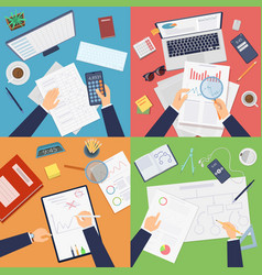 Business workplace top view businessman working vector