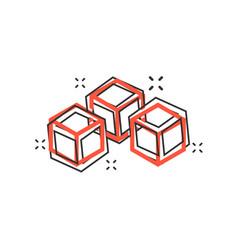 Cartoon blockchain technology icon in comic style vector