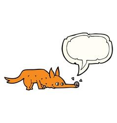 Cartoon fox sniffing floor with speech bubble vector