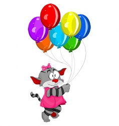 cartoon kitten with balloons vector image