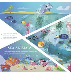 cartoon underwater life template vector image
