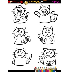 Cats emotion set cartoon coloring book vector