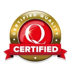 Certified quality badge with red ribbon vector image