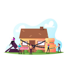 Characters foreclosure in real estate auction vector