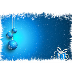 Christmas baubles and gift on snowy background vector