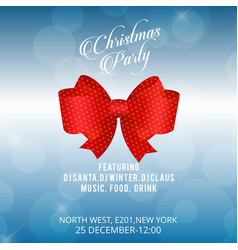 christmas invitation card with red bow and blue vector image