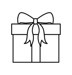 Christmas silhouette gift with tape bow vector