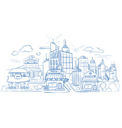 City landscape with modern buildings pencil sketch vector