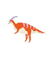 colorful parasaurolophus dinosaur cute vector image