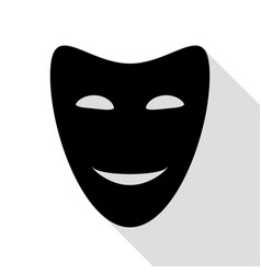 comedy theatrical masks black icon with flat vector image