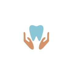creative dental holding hands logo design symbol vector image