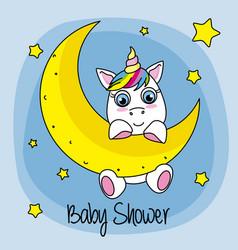 Cute cartoon unicorn on a moon vector