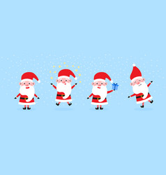 cute santa clauses with big ears and nose set vector image