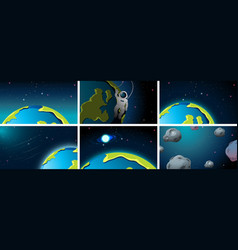 Different earth space scenes vector