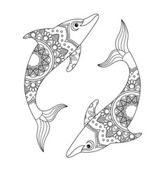 Dolphin for coloring book vector