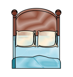 Drawing bedroom two pillow blanket wooden image vector