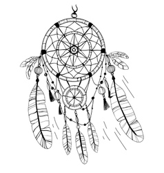 Dreamcatcher feathers and beads Coloring page vector image