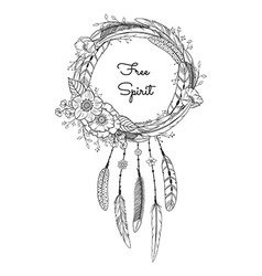 Dreamcatcher with feathers and flowers vector image