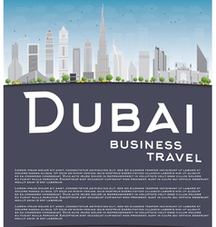 Dubai City skyline with grey skyscrapers vector image