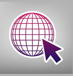 earth globe with cursor purple gradient vector image