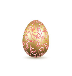 easter egg 3d icon ornate gold egg isolated vector image