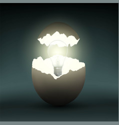 electric light bulb in a chicken egg vector image