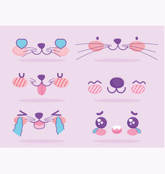 Emojis kawaii cartoon cute dog expression faces vector