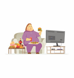 Fat woman watching tv - cartoon people character vector