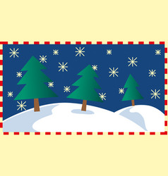 Fir trees in a simple winter landscape vector