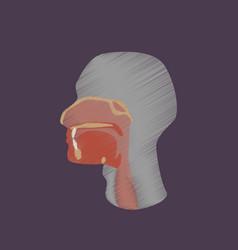 Flat shading style icon pharynx vector