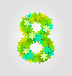 Floral numbers green flowers vector