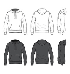 Front back and side views blank hoodie vector