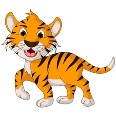 funny tiger cartoon walking vector image