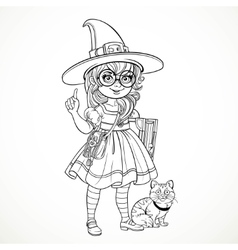 Girl nerd wearing glasses and a suit witch tells vector image
